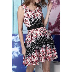 Waisted Corset Chrysanthemums Print Dress -