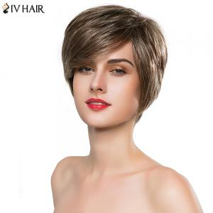 Elegant Side Bang Siv Hair Short Layered Capless Real Human Hair Wig For Women -
