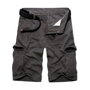 Casual Loose Fit Multi-Pockets Solid Color Cargo Shorts For Men - Deep Gray - 36