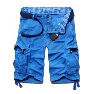 Casual Loose Fit Solid Color Cargo Shorts For Men - Azure - 34