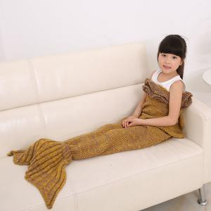 Flouncing Sleeping Bag Mermaid Design Knitted Blanket and Throws For Kids