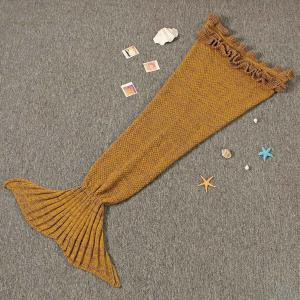 Flouncing Sleeping Bag Mermaid Design Knitted Blanket and Throws For Kids - GINGER