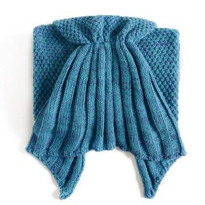Flouncing Sleeping Bag Mermaid Design Knitted Blanket and Throws For Kids - TURQUOISE