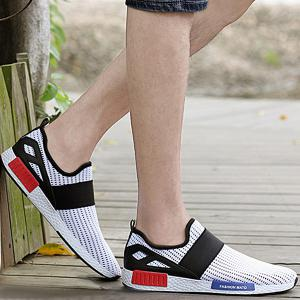 Fashionable Elastic Band and Hit Color Design Casual Shoes For Men -