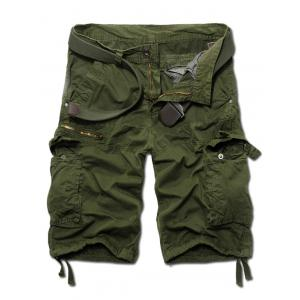 Fashion Zip Design Solid Color Cargo Shorts For Men