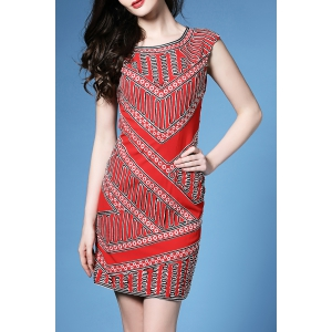 Embroidered Mini Sleeveless Bodycon Dress -