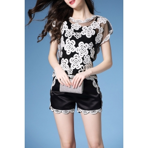 See-Through Embroidered Blouse and Scalloped Shorts -