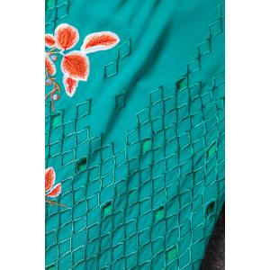 Stand Collar Embroidered A Line Dress -