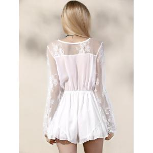 Stylish Plunging Neck Long Sleeve Lace Splice Women's Romper -