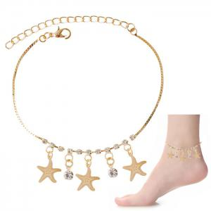 Rhinestone Starfish Tassel Charm Girl Foot Bracelet - Golden