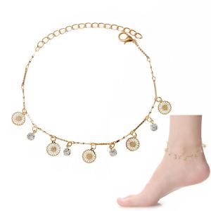 Chic Faux Zircon Hollow Out Foot Bracelet - Golden - M