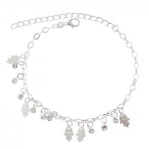 Chic Faux Zircon Hollow Out Palm Foot Bracelet