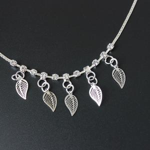 Rhinestone Hollow Out Leaf Anklet -