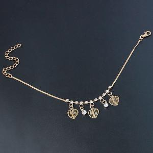 Chic Faux Zircon Hollow Out Leaf Foot Bracelet -