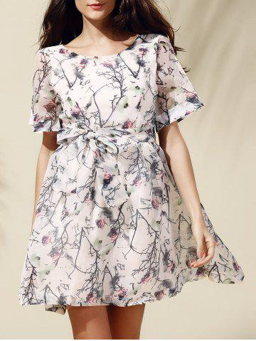 Cheap Sweet Short Sleeve Scoop Neck Floral Print Self-Tie Women's Dress