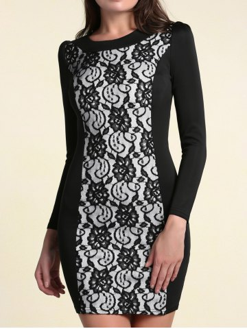 Store Elegant Round Collar Long Sleeves Lace Spliced Dress For Women