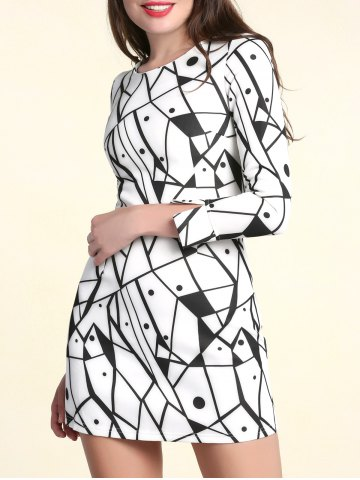 Store Fashionable Scoop Neck Long Sleeves Printed Dress For Women WHITE S