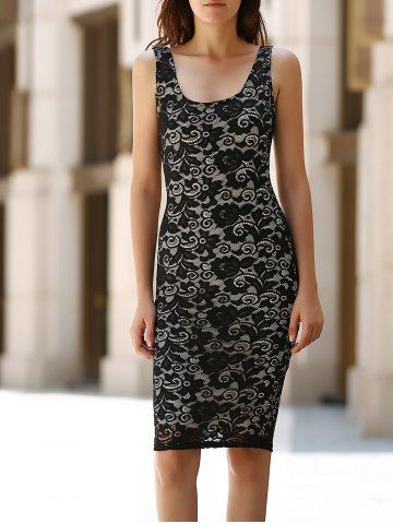 Chic U-Neck Sleeveless Solid Color Slimming Women's Lace Dress - Black - M