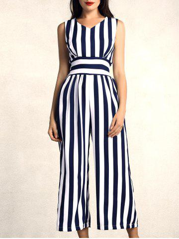 V Neck Sleeveless Blue Striped Jumpsuit