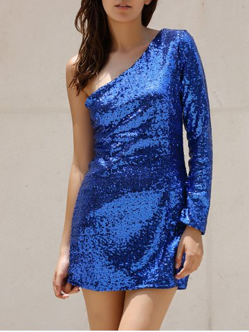 One Shoulder Sparkly Tight Short Club Dress - Blue - M