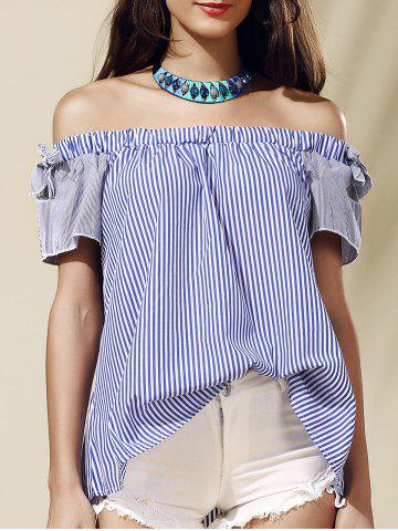 Outfit Stylish Off-The-Shoulder Striped Cut Out Women's Blouse