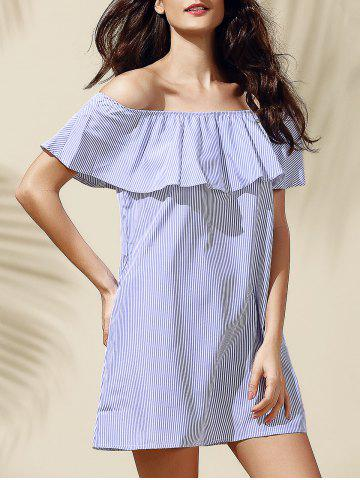 Outfits Casual Off-The-Shoulder Striped Flounce Women's Dress