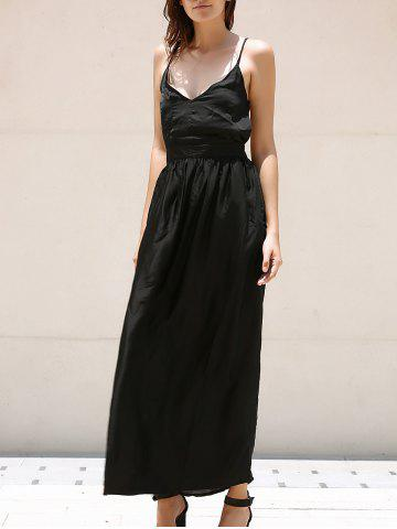 Fashion V-Neck Spaghetti Strap Backless Prom Maxi Dress BLACK S
