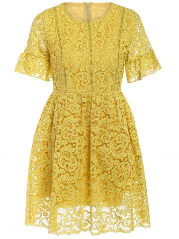 Hot Charming High-Waist Yellow Lace Dress For Women