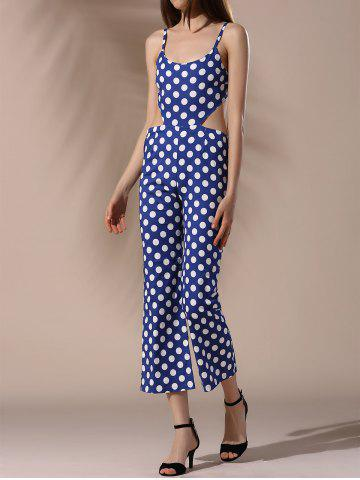 Spaghetti Strap Polka Dot Cut Out Women s Jumpsuit