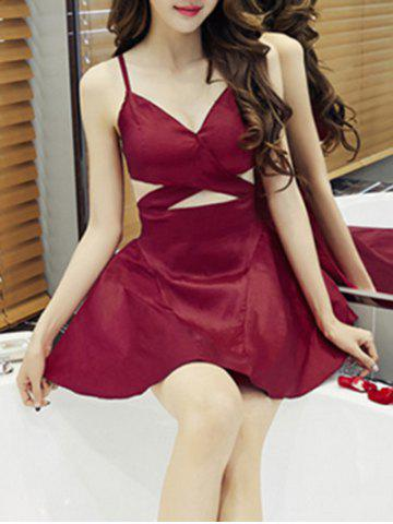 Discount Simple Style Women's Cut Out Sleeveless V Neck Dress WINE RED S