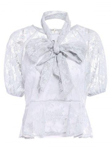 New Trendy White Cami Tank and Jewel Collar Short Sleeve Bowknot Lace T-Shirt Twinset For Women