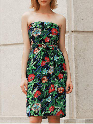 Outfit Bohemian Style Floral Print Strapless Dress For Women