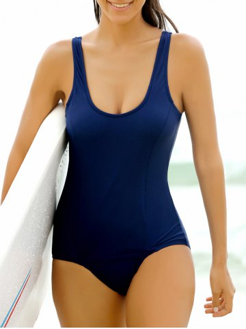 Stylish Scoop Neck Solid Color One-Piece Women's Swimwear - Purplish Blue - Xl