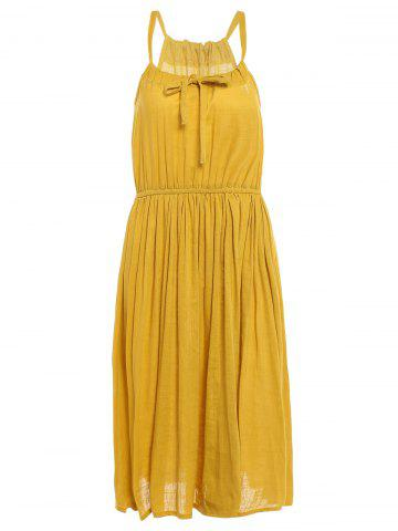 Trendy Fashionable Sleeveless Pleated Pure Color Women's Dress