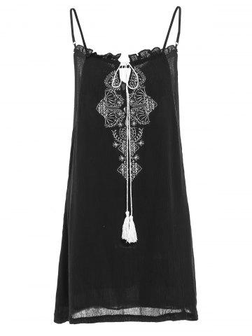 Spaghetti Strap Embroidery Fringed Women s Dress