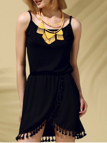 Spaghetti Strap Fringed Pure Color Women s Dress