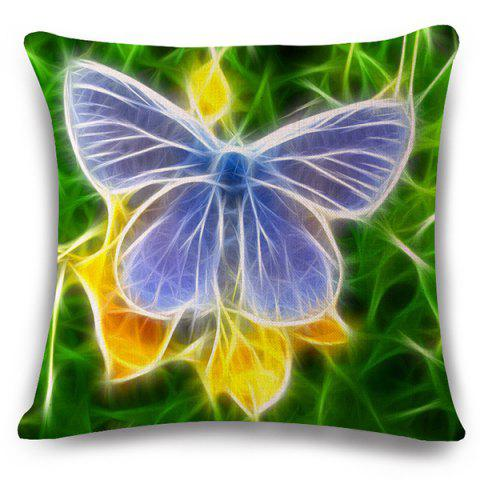 Chic Chic 3D Butterflies Pattern Square Shape Flax Pillowcase (Without Pillow Inner)