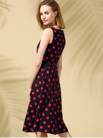 Buy Retro Style Polka Dot Fit and Flare Dress - XL BLACK Mobile