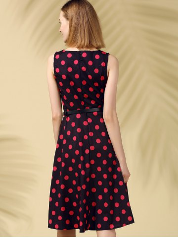 Hot Retro Style Polka Dot Fit and Flare Dress - XL BLACK Mobile