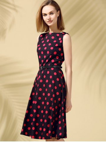 Store Retro Style Polka Dot Fit and Flare Dress - XL BLACK Mobile