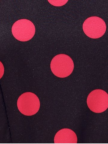 Chic Retro Style Polka Dot Fit and Flare Dress - XL BLACK Mobile