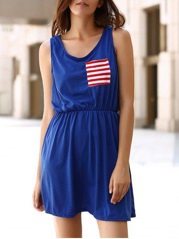 Latest Chic U Neck Sleeveless Striped Pocket and Bowknot Embellished Dress For Women