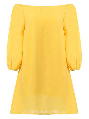 Affordable Stylish Off The Shoulder Long Sleeve Yellow Chiffon Dress For Women