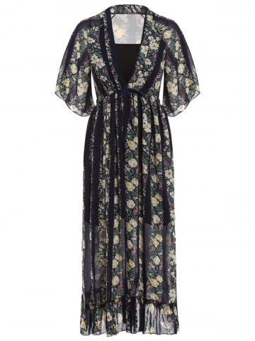 Affordable Stylish Plunging Neck Floral Print Maxi Dress with Tube Top For Women