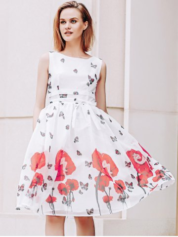 Buy Elegant Scoop Neck  Sleeveless Floral Print Chiffon Dress For Women RED WITH WHITE M