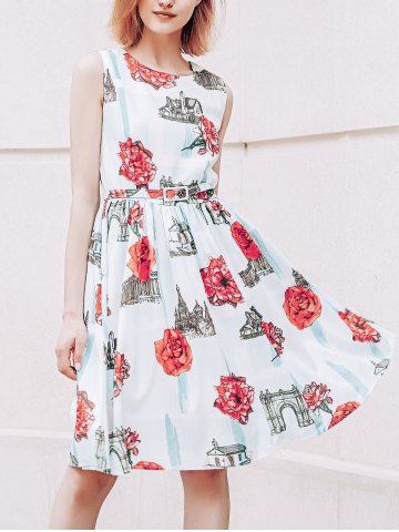 Sale Stylish Jewel Neck Floral Print Sleeveless Belted Flare Dress For Women RED AND GREEN L