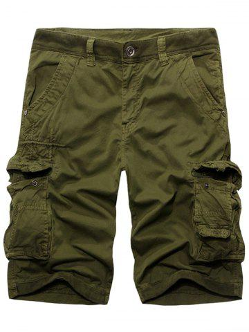 New Fashion Solid Color Cargo Shorts For Men ARMY GREEN 29