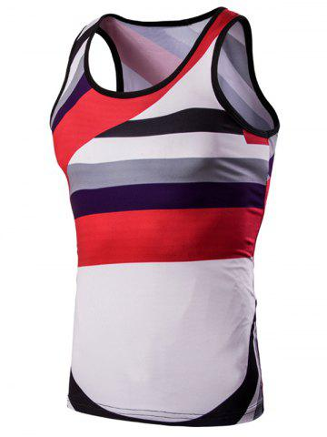 Best 3D Men's Round Neck Irregular Striped Printed Tank Top COLORMIX M