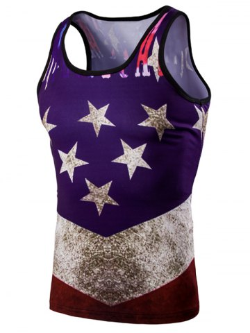 Discount Fashion 3D Round Neck American Flag Printed Tank Top For Men COLORMIX M
