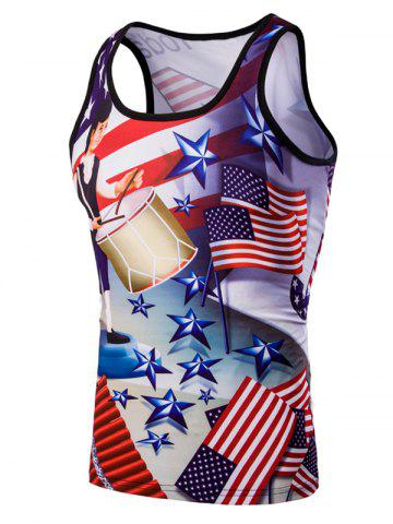 Cheap 3D Slimming Fit Round Neck American Flag Printed Tank Top For Men COLORMIX M